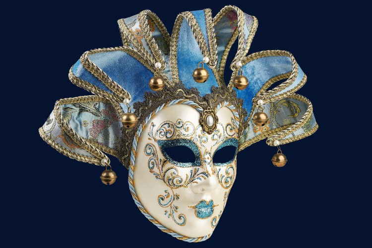 Isolated Blue Venetian mask on a blue  background